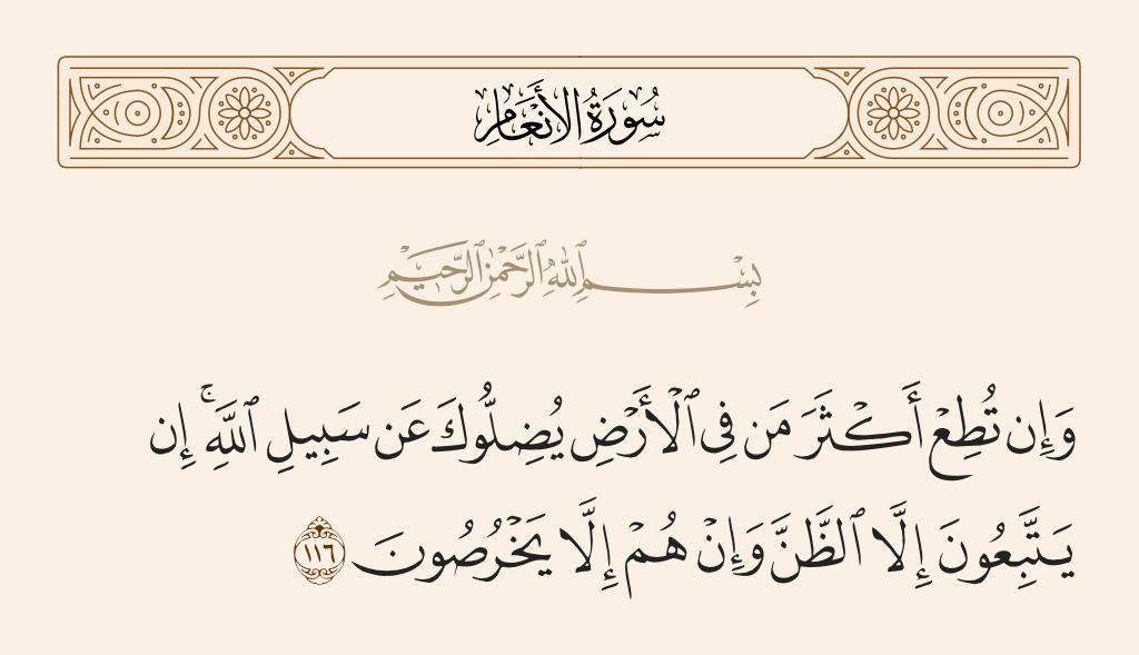 سورة  الأنعام الآية رقم 116