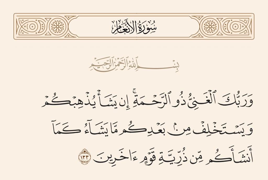 سورة  الأنعام الآية رقم 133