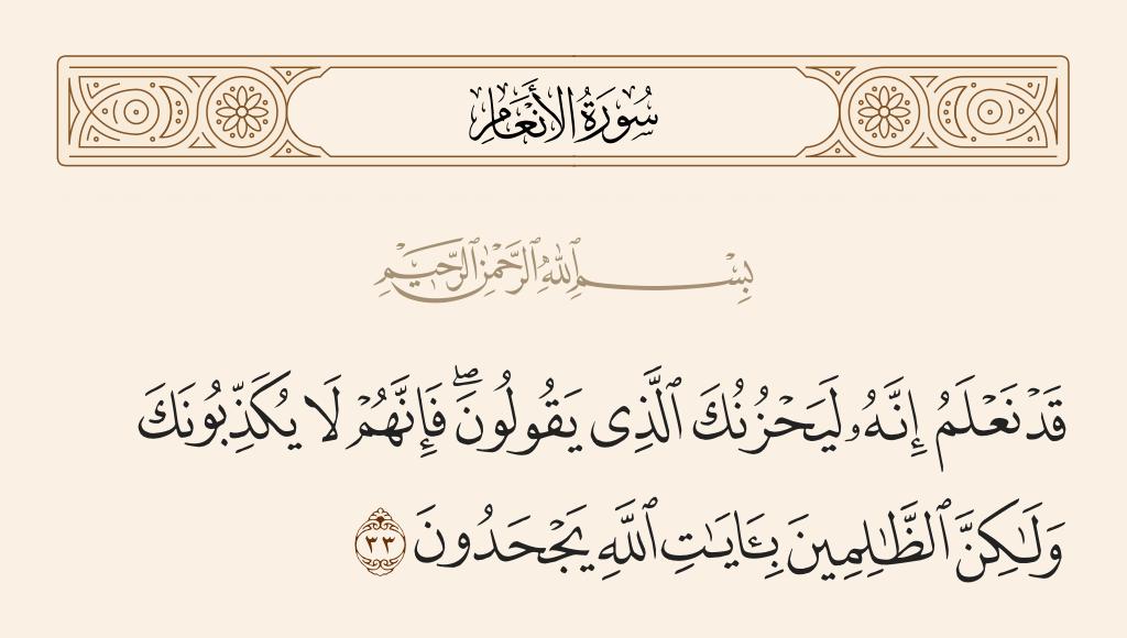 سورة  الأنعام الآية رقم 33