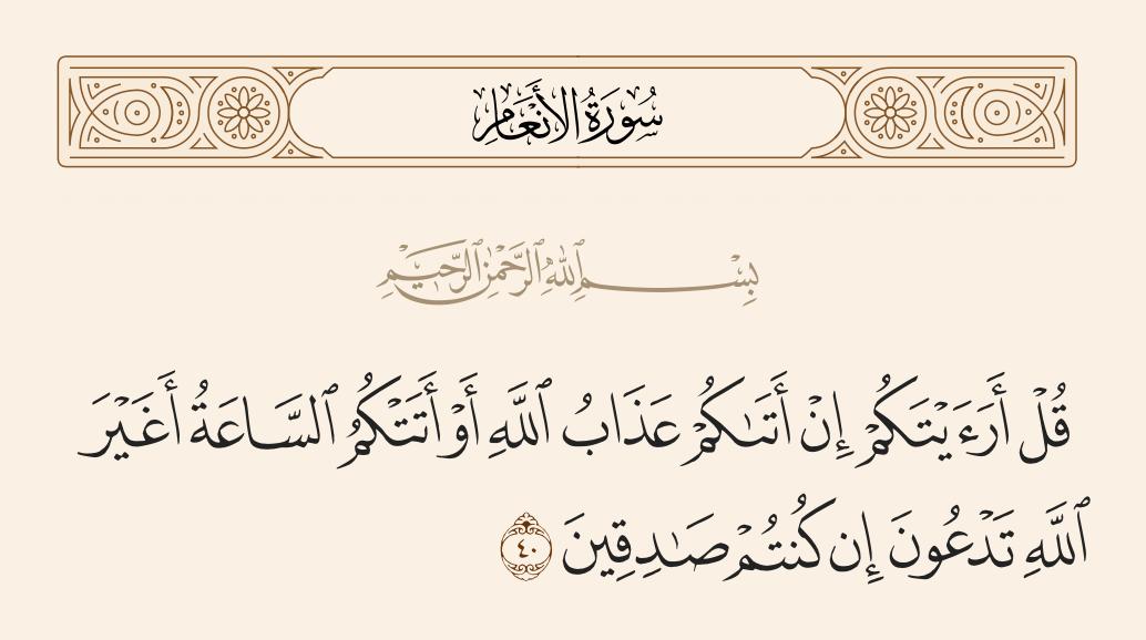 سورة  الأنعام الآية رقم 40