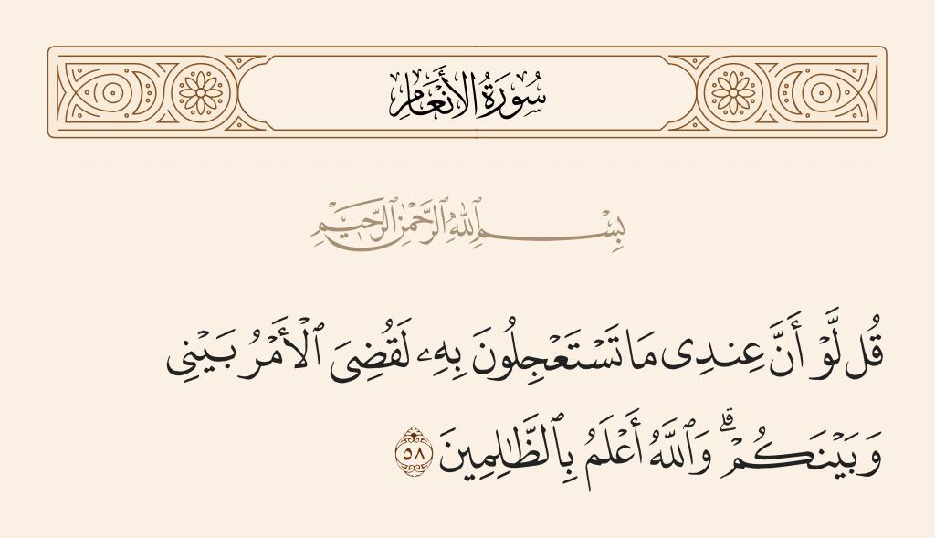 سورة  الأنعام الآية رقم 58