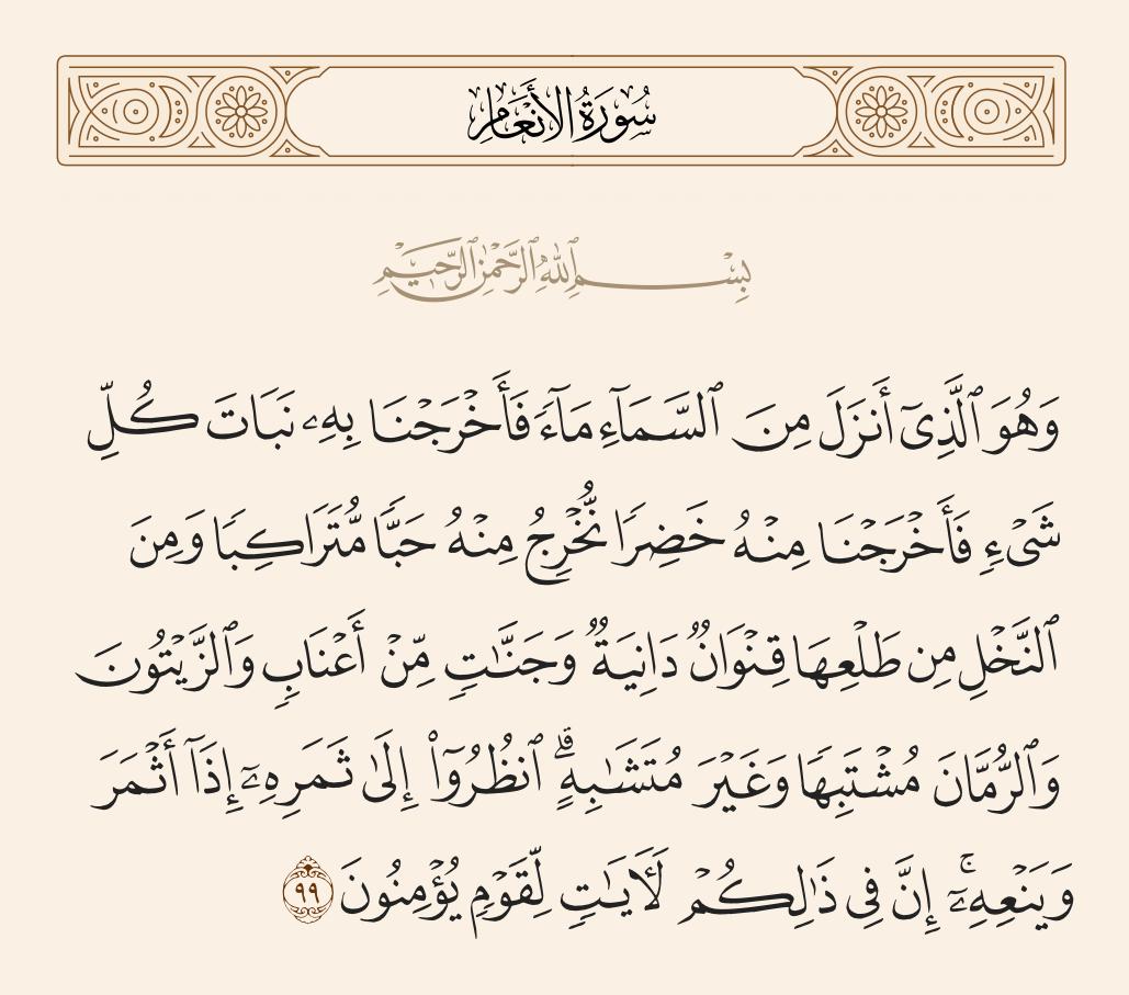 سورة  الأنعام الآية رقم 99