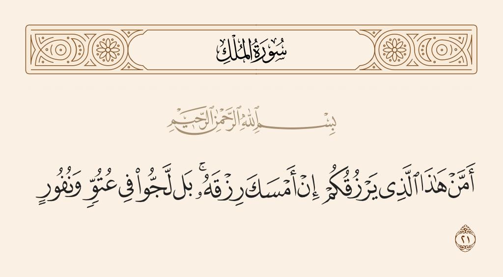 سورة  الملك الآية رقم 21