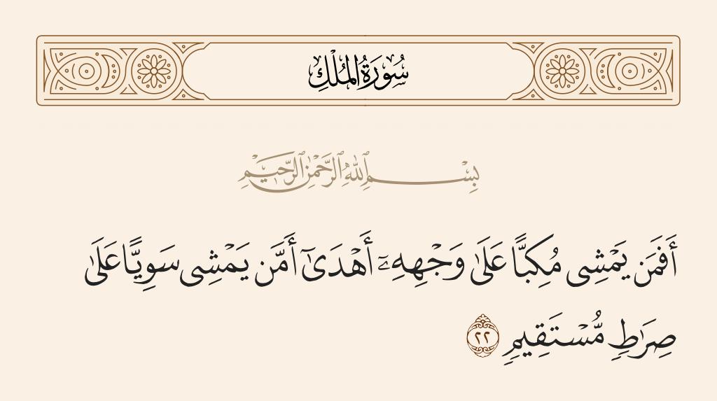 سورة  الملك الآية رقم 22