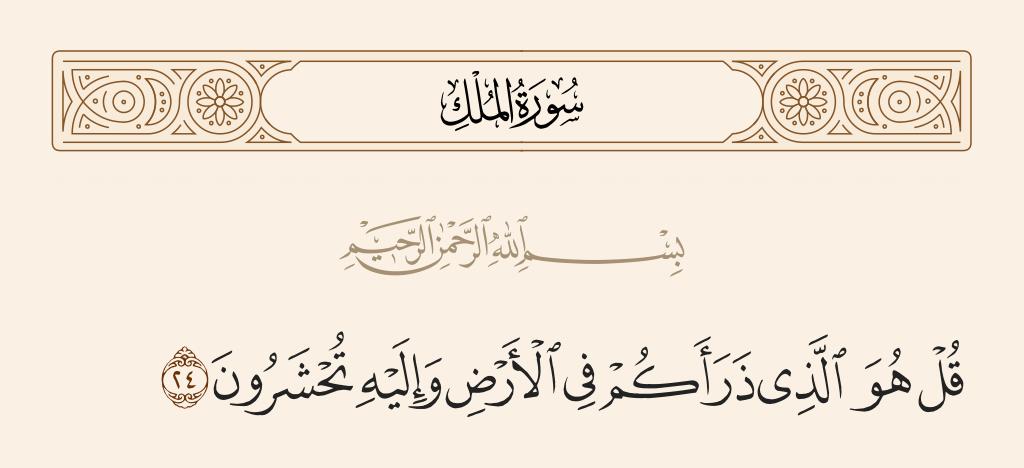 سورة  الملك الآية رقم 24