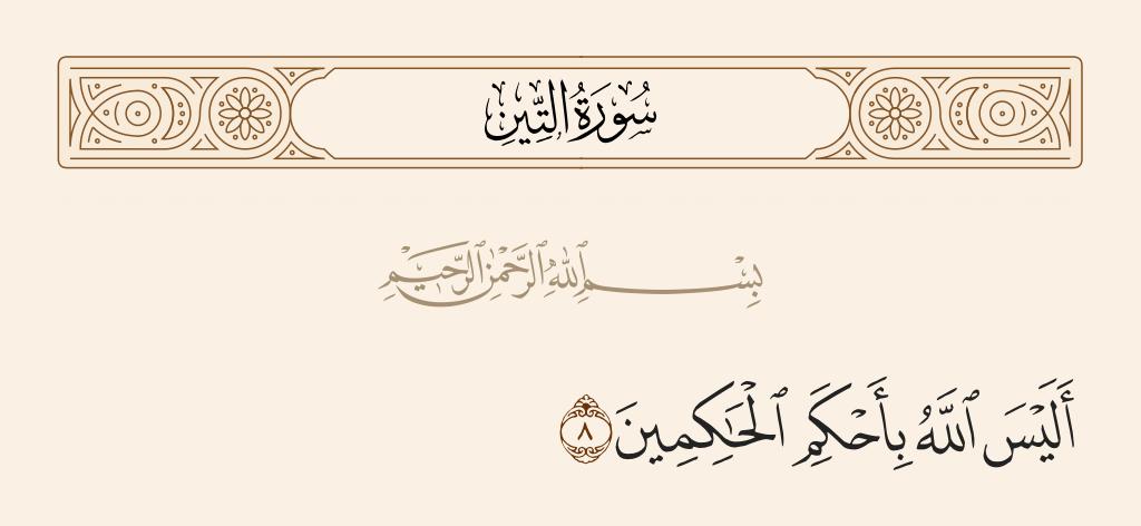 سورة  التين الآية رقم 8