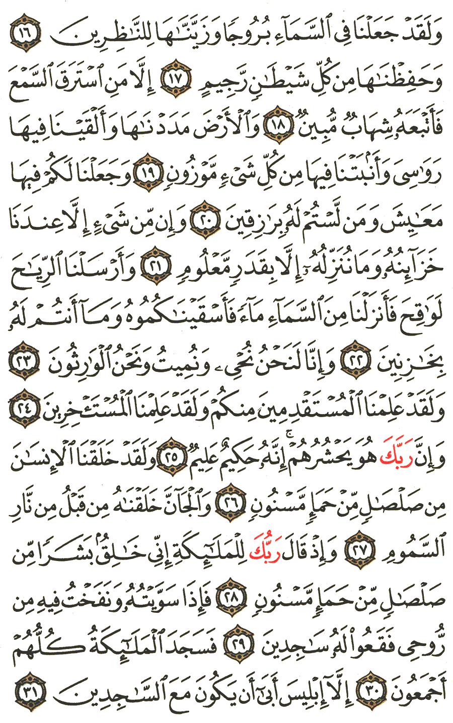 تفسير الآية 16 إلى 31 من سورة الحجر تفسير القرطبي