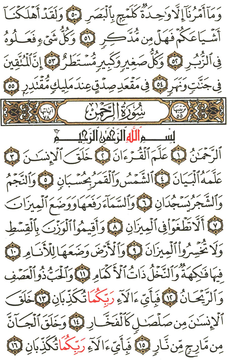 تفسير سورة الرحمن المختصر في التفسير